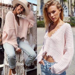 Wildfox Palmetto Distressed Knot Sweater